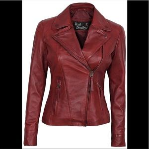 🎾 Real lamb leather red burgundy moto jacket M
